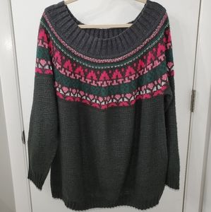 Maurices Wide Neck Fair Isle Sweater